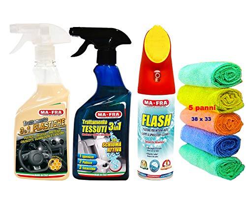 Ma-Fra Kit Trattamento Auto Interno ED Esterno. FLASH pulitore con spazzola- Trattamento 3IN1 TESSUTI- PLASTICHE,INSIEME 5 PANNI MICROFIBRA MULTIUSO 38X33CM