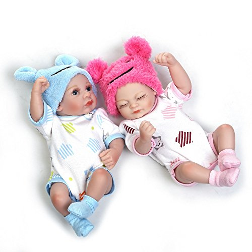 Minidiva Reborn Baby Dolls, 2pcs 10 inch/26cm Boy and Girl Twins Full Body Soft Silicone Newborn Baby Lifelike Reborn Dolls Gift