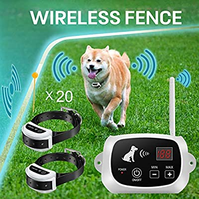 FOCUSER Electric Wireless Dog Fence System, Pet Containment System for 2 Dogs and Pets with Waterproof and Rechargeable Training Collar Receiver Boundary(with 20 Flags)