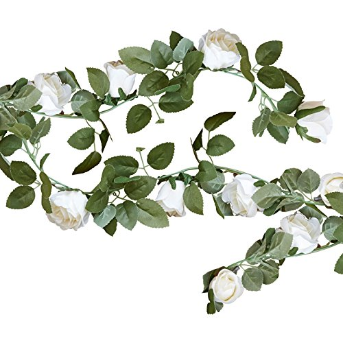 Blumen-Girlande / Rosen-Girlande aus Stoff in grün & creme-weiß - Länge 2 Meter / Hochzeits-Deko / Geburtstags-Deko / Raum-Dekoration / Stoff-Girlande / Banner / Party & Feier Rosen