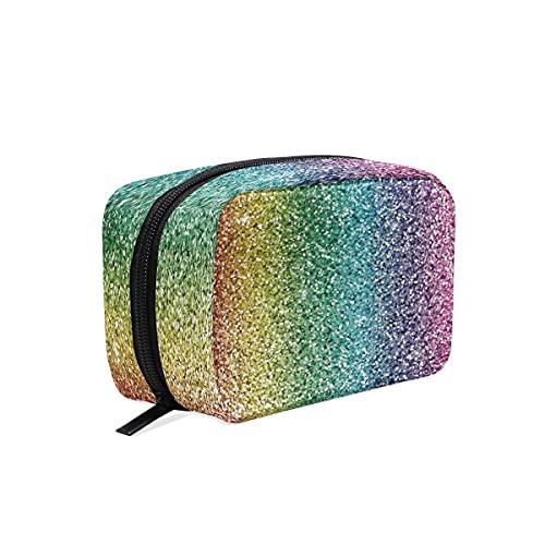 BOLOL - Bolsa de maquillaje con patrón de arco iris para mujeres y niñas, caja portátil Galaxy Stars