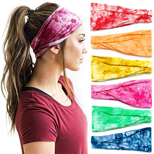 Headbands For Women, 6 PCS Yoga Running Sports Cotton Headbands Tie Dye Elastic Non Slip Sweat Soft Headbands Workout Fashion Hair Bands for Girls