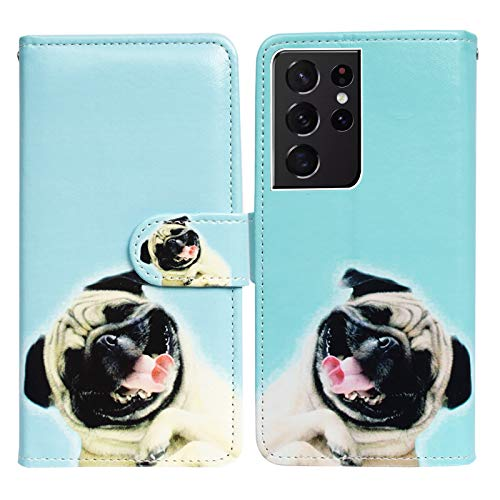 Galaxy S21 Ultra Case,Bcov Funny Pug Dog Leather Flip Phone Case Wallet Cover with Card Slot Holder Kickstand for Samsung Galaxy S21 Ultra