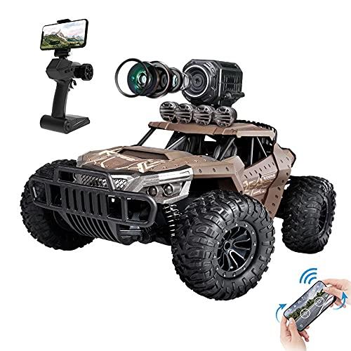 Weaston Coche De Orugas RC con Cámara FPV En Tiempo Real 720P HD, 4WD Toma De Fotografías Y Videos De Vehículos Todo Terreno De Escalada, Coche De Control Remoto Eléctrico Todoterreno De 2.4G