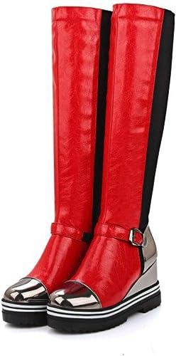 Bottes Hautes en Cuir Verni, Bottes Au Genou à Talons Compensés, Plateforme Imperméable en Cuir Couture Chevalier Bottes Antidérapantes Chaussures pour Femmes pour Fêtes, Shopping