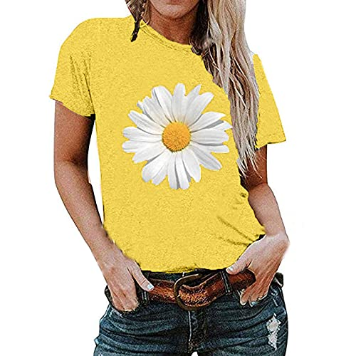 Womens Summer T-Shirt, Trendy Casual Daisy Print Loose Fit Blouse Tops Ladies Short Sleeve Cute Crewneck Comfy Clothes