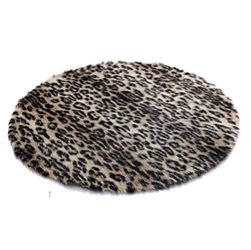 LXESWM Fellteppich Kunstfell Teppich Leopard Animal Print Teppich Wohnzimmer Runde Teppich Große...