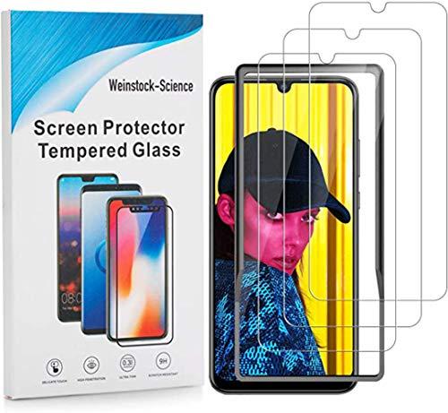 Weinstock-Science 3X Bruchsicheres Panzerglas für Huawei P Smart 2019 mit Installationsrahmen Schutzfolie aus 9H Echt Glas Klar