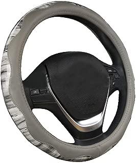 XiXiHao Wood Grain Steering Wheel Cover for Women (Gray)