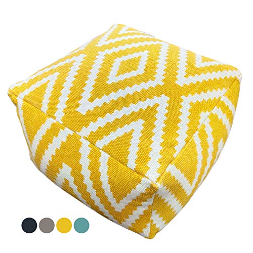casamia Sitzwürfel Fußhocker Sitzhocker 55x37x55 cm Pouf Kelim Bodenkissen Peru schwarz grau gelb türkis Farbe gelb