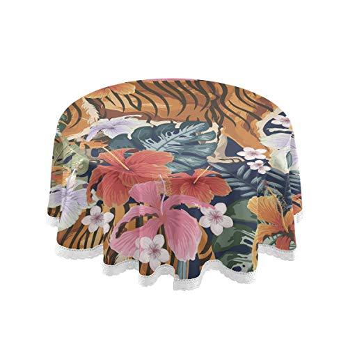 Bardic FELIZM Mantel redondo con diseño de tigre y flores, mantel de mesa de comedor de 152 x 152 cm para decoración de fiestas en el hogar, fiesta, cocina, vacaciones