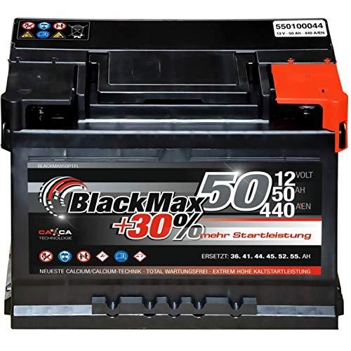 Autobatterie 12V 50Ah 440A/EN BlackMax Starter 30{97d6f012ff5ac4b607d34e3211d526ab1a6e58f0cbec1c1d196246d441b82dc4} mehr Leistung ersetzt 36Ah 41Ah 44Ah 45Ah