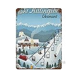 Vintage Decorative Metal Signs,Killington, Vermont - Retro Ski Resort,Vintage Sign Metal Tin Sign Wall Decor 8 X 12 Inches
