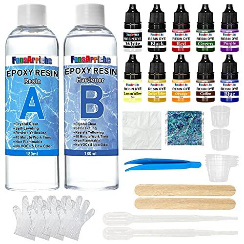 Kit de resina epoxi - 385 g / 360 ml Resina epoxi transparente con colorante para fundición y revestimiento - Relación de resina 1: 1 para mesa, fabricación de joyas, pintura y decoración artesanal