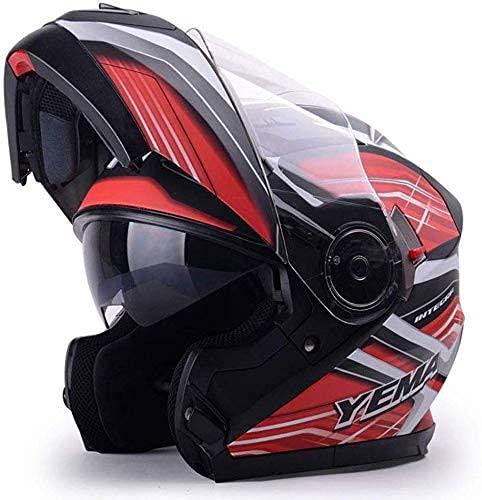 LAMZH Casco de motocicleta portátil para hombre y mujer, doble lente abierta, casco de cara abierta, casco antivaho, rojo, gris, grande, protección