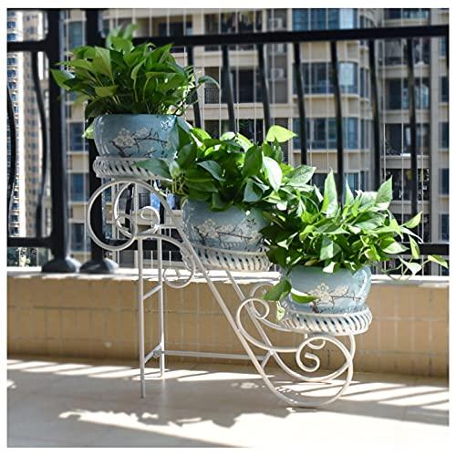 GAOJINXIURZ Estante para Flores Soporte de Flores de 3 Capas de Hierro Forjado, Soporte de Planta de Plantas de Suelo de balcón, Estante de Maceta de Interior escalonada (Color : White)