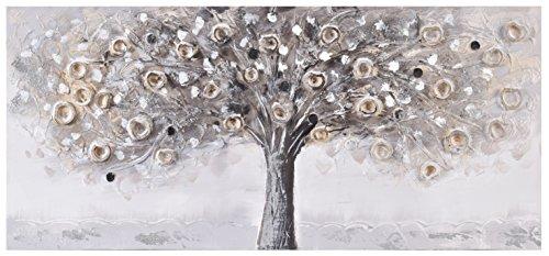 Home Selection - Lienzo de pared 3D pintado a mano con diseño de árbol plateado Lienzo grande gris. Cuadro moderno, lienzo listo para colgar en la pared. 110 x 50 cm.