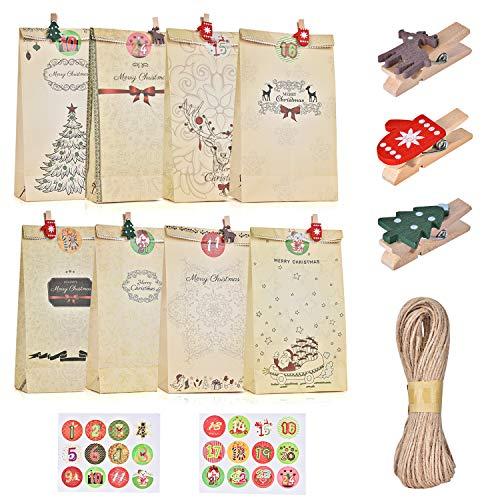 Ulikey 24 Bolsas de Regalo Navidad, Calendario de Adviento, Bolsas de Papel Kraft con 1-24 Pegatinas, Decoración Navideña para el Hogar para Boda Fiestas Cumpleaños