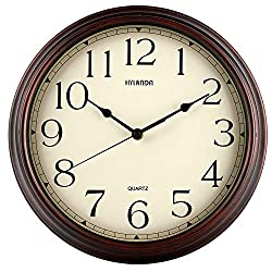HYLANDA Wall Clock, 12 Inch Vintage Retro Silent Quality Quartz Wall Clocks Battery Operated Non-Ticking, Round Decorative Kitchen Home Office Bedroom Living Room(Bronze)