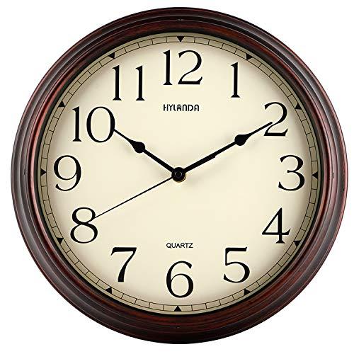 HYLANDA Orologio da parete da 30 cm vintage retrò silenzioso qualità orologio da parete a batteria senza ticchettio, rotondo decorativo per cucina, ufficio, camera da letto, soggiorno (bronzo)