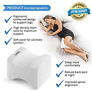 ComfiLife Orthopedic Knee Pillow for Sciatica Relief, Back Pain, Leg Pain, Pregnancy, Hip and Joint Pain – Memory Foam Wedge Contour