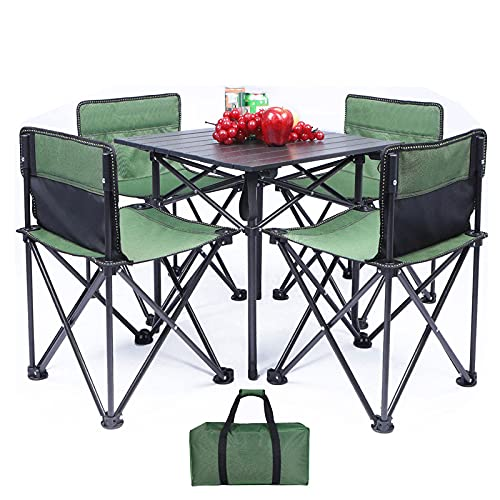 JUNENG Folding Picnic Table with 4 Chairs Portable Camping Table Seats Roll Up Table with Carrying Bag Portable and Lightweight Set for Outdoor Camping Picnic BBQ Party and Dining,Green