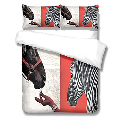 MMHJS Los Juegos De Fundas Nórdicas Impresas De La Serie Zebra Son 2 Fundas De Almohada Y 1 Funda Nórdica con Cremallera, Adecuada para Hotel, Dormitorio, Dormitorio