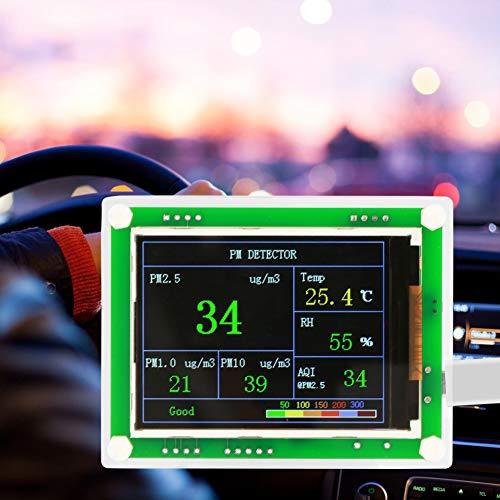 Luftqualitätsdetektor, 2,8-Zoll-TFT-Multifunktions-Digitalauto PM2.5 Luftqualitätsdetektor-Monitor in PM1.0, PM10.0, PM2.5, AQI, Temperatur, Luftfeuchtigkeit, Partikeln für zu Hause, im Büro, im Auto
