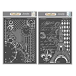 CrafTreat Stencils for Painting on Wood, Canvas, Paper, Fabric, Wall and Tile - Clock and Key & Eiffel Tower Script - 2 Pcs - Size: A4 Each - Reusable DIY Art and Craft Stencils for Mixed Media Art