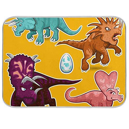 Tapis de séchage à vaisselle Microfibre de comptoirs de cuisine Protecteur de coussin sec 16 x 18 pouces Famille de dinosaures