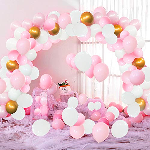 Pink Balloon Garland Kit - 118 Pcs Pink and White Balloons Garland Arch Kit with 16Ft Balloon Strip Pink and Gold Balloons