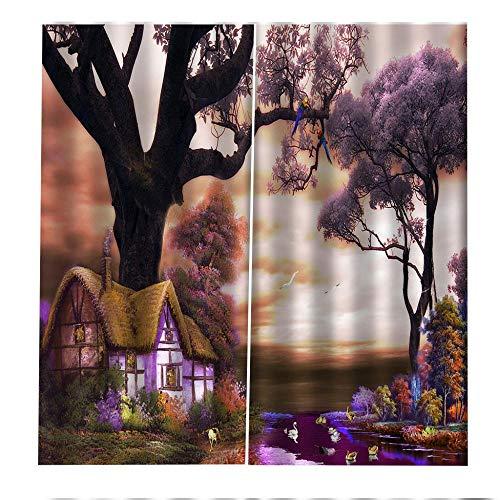 shzyy Cortinas de Alto sombreado con Ganchos, patrón de casa de Madera Rural, Cortinas de impresión de Cortina de Fibra de poliéster 3D, decoración Interior Fresca, (59' W x 65' H), 2 Paneles