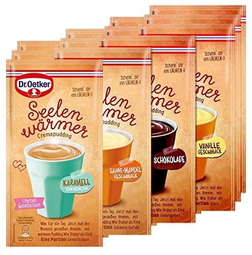 Dr. Oetker Seelenwärmer im praktischen 12er Probier-Set – der Tassenpudding in den bewährten Geschmacksrichtungen Schokolade, Vanille, Sahne-Mandel und Karamell
