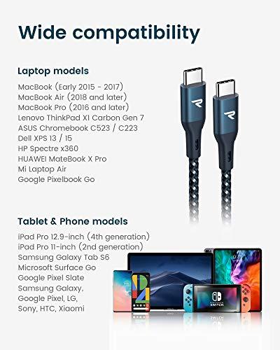 RAMPOW USB C auf USB C Kabel, USB Typ C Kabel, 1M, 100W 20V/5A PD Schnellladekabell mit Nylon Geflochtenes für MacBook Pro, iPad Pro, ChromeBook, Samsung, Huawei - Marineblau
