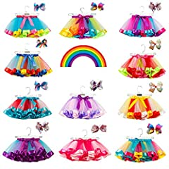 【Style & Design】Independent 12 bunches of different color tulles stitched to a rainbow tutu skirt, different from the normal skirt. When you are dancing, the whole skirt will not be raised while you lift your leg. There are ribbons sew on the waist, ...