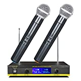 AXHTCD Profesional Micrófono Karaoke Set Inalámbrico Transmisión De Frecuencia Dual Mic Receptor KTV, Lugares De Entretenimiento, Boda Y Reunión