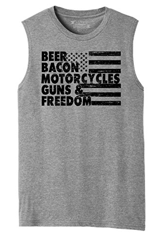 Comical Shirt Mens Muscle Tank Beer Bacon Motorcycles Guns & Freedom Tee Gun Rights American Grey Frost M