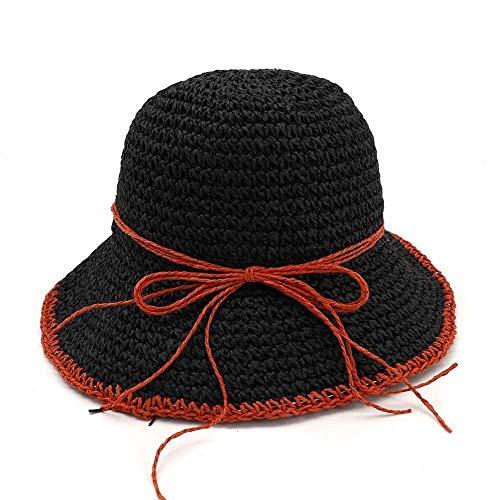 Hut Casual Caps 100% handgemachte Frauen häkeln Stroh Sonnenhut Floral Sonnenhüte Sommer Strand Folding Lady Casual Caps (Farbe: 8, Größe: 56-58CM)