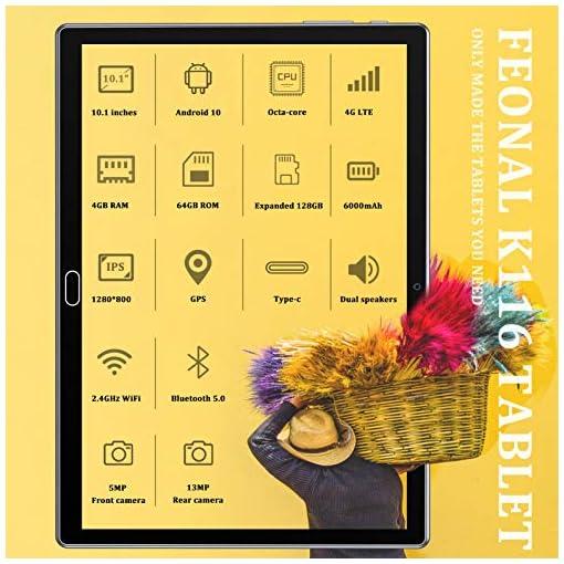 FEONAL Tablet 10 Pulgadas Android 10 4G LTE +WiFi, 4GB RAM+64GB ROM (TF 128GB), Octa-Core, Batería 6000mAh, Tableta con… 3