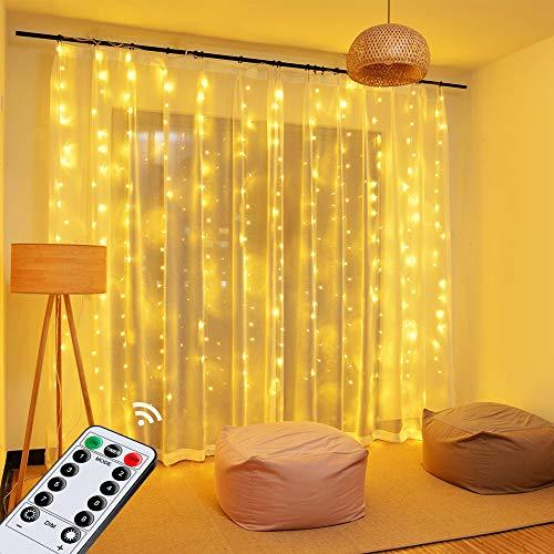 Luci per Tende a LED, OMERIL 2,4x1,8M Tenda Luminosa Alimentata da USB con Telecomando,8 Modalità e Timer, Catena di Luci per Tenda Impermeabile IP65,Decorazione per Natale,Giardino, Feste,Camera
