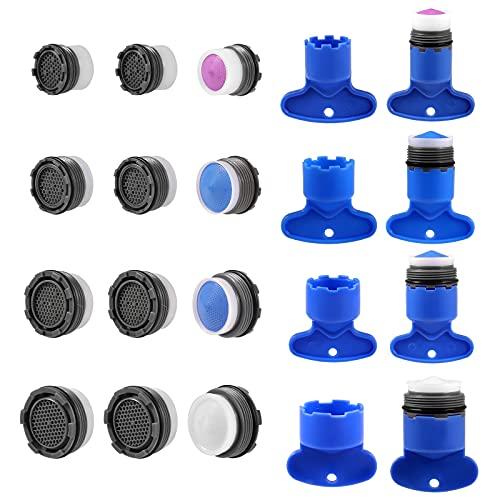 KINBOM 12 Piezas Aireador de Grifo y 6 Piezas Llave de Desmontaje Ahorro de Agua Aireador de Grifo Llave Repuesto Llave Extracción Herramienta para Baño y Cocina