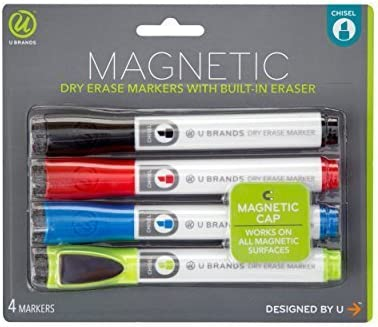 U Brands Low San Jose Mall Odor Magnetic Very popular! Dry Chise Markers With Erase Erasers