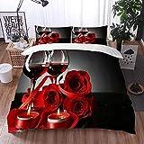 Bedding Juego de Funda de Edredón -Composición con Vino Tinto en Copas, Rosa roja y corazón Decorativo/Microfibra Funda de Nórdico (Cama 240 x 260 cm + Almohada 50X80 cm)