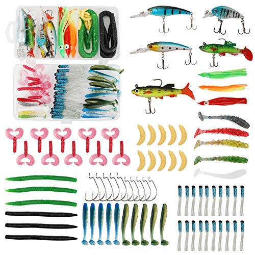 Achort Fishing Lure Kit for Bass, Trout, Salmon, Including Soft Plastic Worms, Crank Bait 79 Pcs Fishing Bait Set Artificial Lures Life-Like Fishing for Freshwater Saltwater Fishing with Storage Box