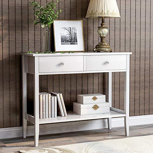 BTM Konsolentisch mit 2 Schubladen, Holzeingang Wohnzimmer Beistelltisch Frisiertisch Schreibtisch für Wohnzimmer Schlafzimmer Flur, Arbeitszimmer Schreibtisch für Arbeitszimmer (weiß)