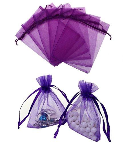 100 bolsas de organza de 10 x 15 cm de color puro, con cordón para regalo, bolsas de embalaje de muestra, bolsa de tul para dulces, joyas, fiestas, bodas, Navidad, morado, 4\'\' x 6\'\'