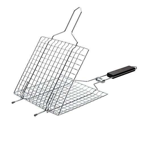 Songlela 430 Edelstahl mit Griff Grillkorb Fischbräter, Hähnchenbräter Burger Grillwender, Großzügige Kochfläche für Gemüse, Fisch, Fleisch - Perfekt Barbecue Grillen Kit für Familie (23x21.5 cm)
