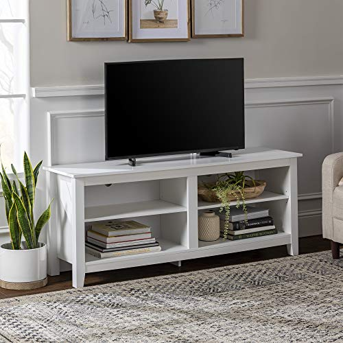 Walker Edison Wren Classic 4 Cubby TV Stand for TVs up to 65 Inches, 58 Inch, White