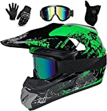 Casco de motocross, casco de cross con gafas, casco completo para MTB, casco profesional de motocross, casco para niños, niños y adultos, color verde, S