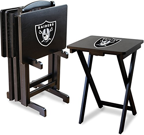 Imperial Officially Licensed NFL Merchandise: Foldable Wood TV Tray Table Set with Stand, Oakland Raiders